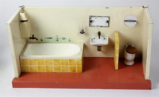 Kibri badezimmer 50er jahre blech farbig lackiert rechteckige form eines offen ausgef hrten bad - Badezimmer 50er ...