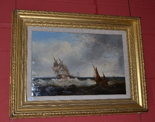 Lot 1159 - John Warkup Swift (1815-1869) Fishing boats and other shipping with light ships in the Humber