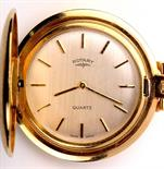 Lot 711 - A gilt cased Rotary Hunter style fob watch, with silvered baton dial.