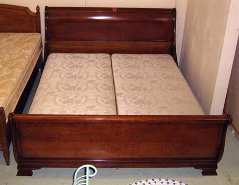 Sleigh Bed Frame Enclosing A Base In Two Sections Purchased From