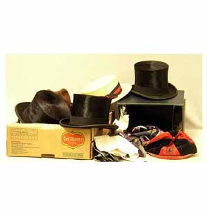 A Boxed Gentlemans Silk Top Hat By Austin Reed Complete With Kid Gloves Spats And Other Gloves