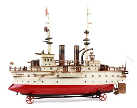 Lot 726 - A rare Märklin German-market spirit-fired steam-powered tinplate 62cm First Series Two-Funnel