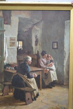 Lot 1400 - Walter Langley (1852 - 1922), 'Mother Love', oil on canvas, a Newlyn fisherman's cottage interior