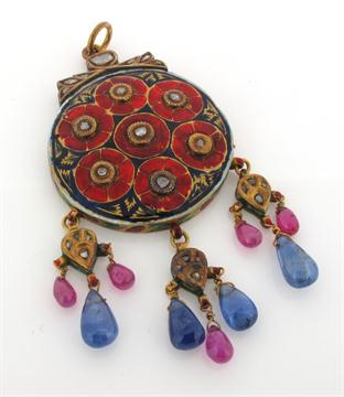 Lot 1538 - An antique Indian gem set gold pendant, the circular gold pendant is set with seven rose cut