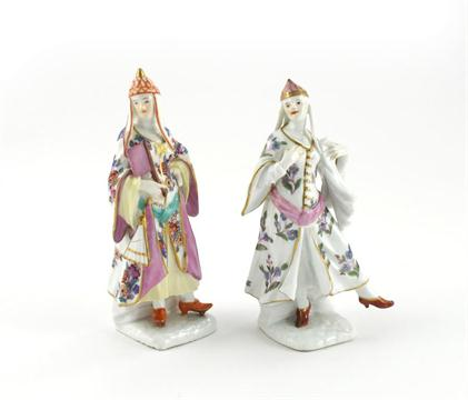 Lot 641 - Two Meissen figures of Turkish ladies mid 18th century, one dancing with extended foot, the other