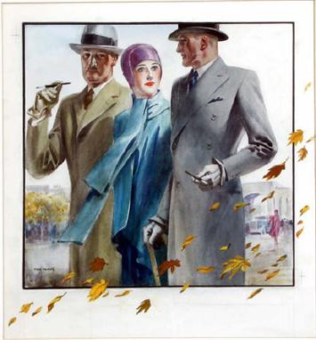 Tom Purvis 1888 1959 Autumn In London Gentlemen In Homburg Hats And Overcoats With Fashionable