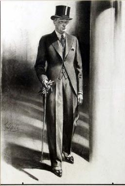 Tom Purvis 1888 1959 Ascot Gent In Morning Suit With Cane And Gloves Full Length Study Origin