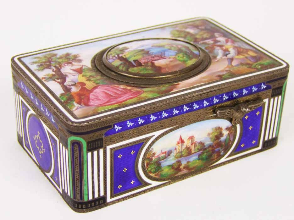 Lot 418 - A 19th Century Swiss enamelled bird musical box, the top with decoration of figures in a landscape