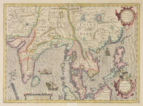 Lot 141 - India. Mercator (Gerard & Hondius Henricus), India Orientalis, c.1613, engraved map with contemp.