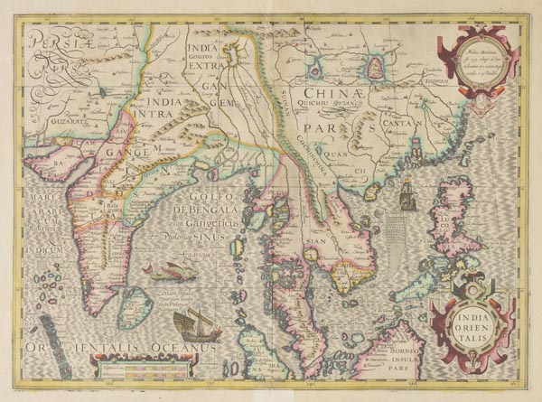 Lot 141 - India. Mercator (Gerard & Hondius Henricus), India Orientalis, c.1613, engraved map with contemp.