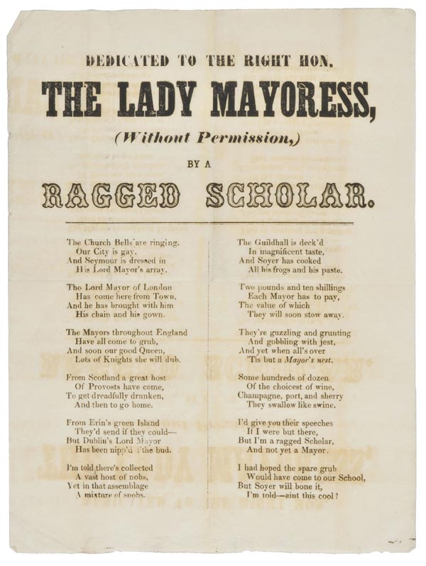 Lot 273 - [Royal Banquet Broadside]. Dedicated to the Right Hon. the Lady Mayoress, (without Permission) by