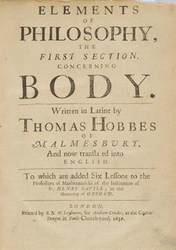 Lot 335 - Hobbes (Thomas). Elements of Philosophy, the First Section, Concerning Body, Written in Latine,