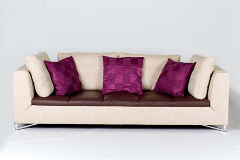 """A LIGNE ROSET """"FENG"""" SOFA IN FLECKED BEIGE FABRIC, with ..."""