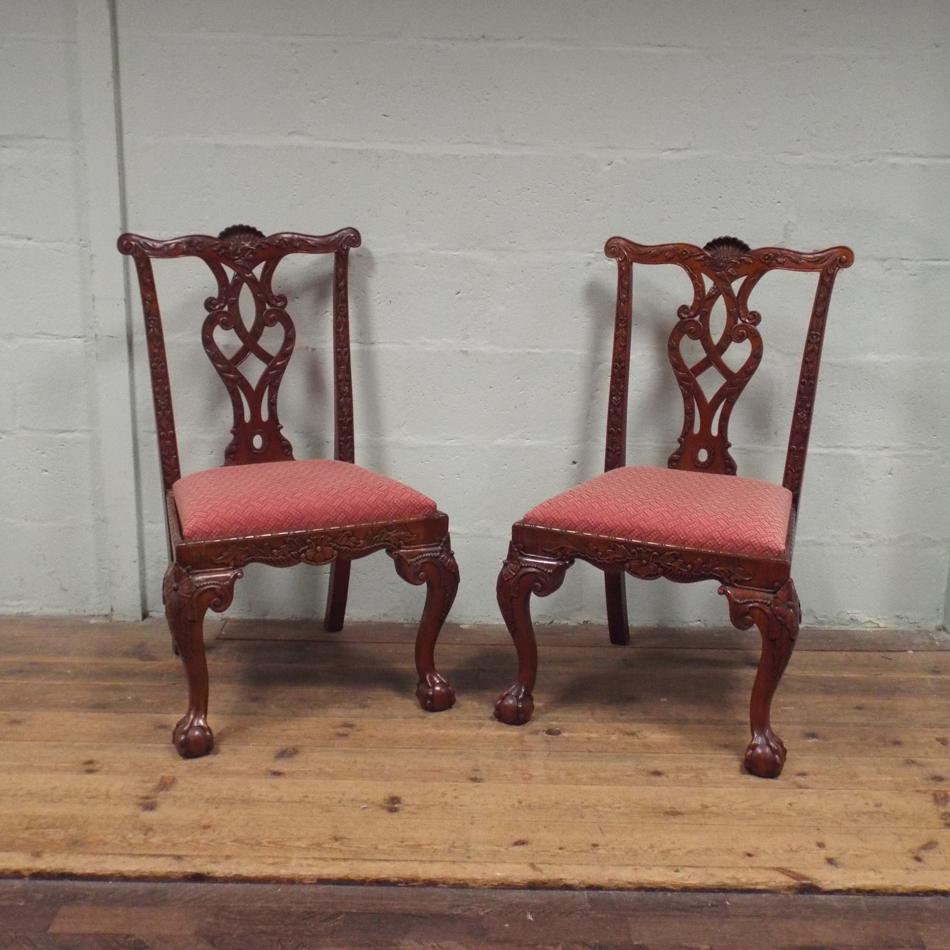 of 6 reproduction carved mahogany chippendale style dining room chairs