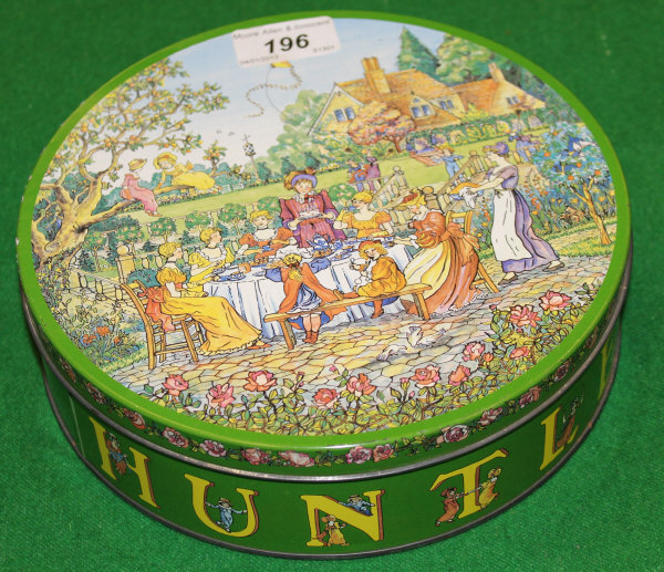Lot 196 - A circa 1980 circular Huntley & Palmer's biscuit tin based on a Kate Greenaway design, this issue