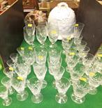Lot 169 - A collection of various cut glass pedestal drinking glasses, tumblers, wines, copper jelly mould and