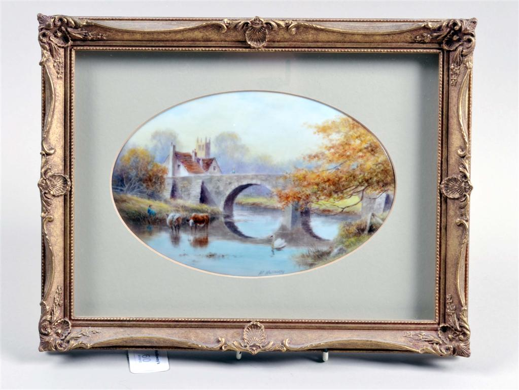 An Oval Hand Painted Porcelain Plaque By Milwyn