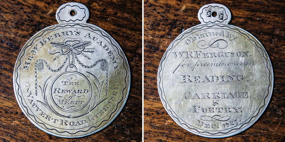 Lot 207 - A rare George IV silver presentation school medal maker`s mark WB struck twice to the suspension