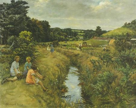 Lot 303 - *Stanhope A. FORBES  (1857-1947) Coloured print 'Angarrack Valley' children sitting by a stream