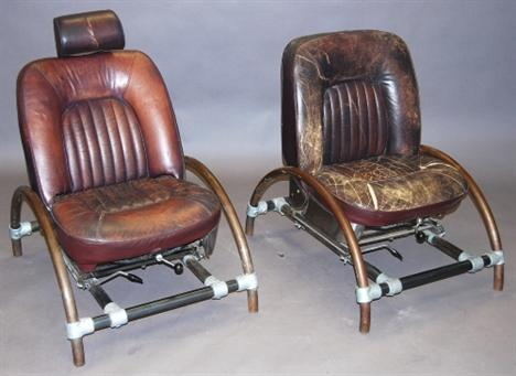 A pair of steel mounted leather chairs after Ron Arad`s `Rover chair` the brown leather upholstered automobile chairs mounted upon Klee-Kl& scaffold ... & A pair of steel mounted leather chairs after Ron Arad`s `Rover ...