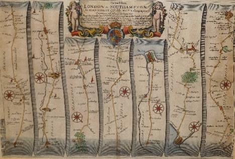 London 1600 Map.John Ogilby British 1600 1676 The Road From London To Southampton