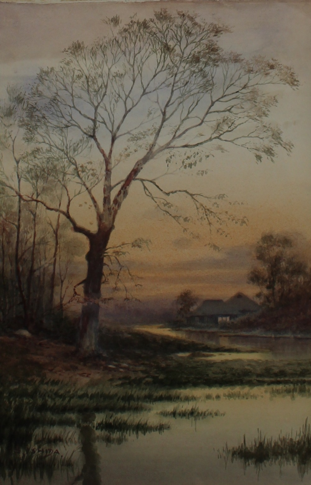 Lot 483 - S. Ishida  A river landscape with a tree in the foreground and a cottage beyond Watercolour Signed