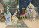 "Lot 484 - L.Pasini ""The Introduction"" An Interior Scene Watercolour Signed 49 x 66cm"