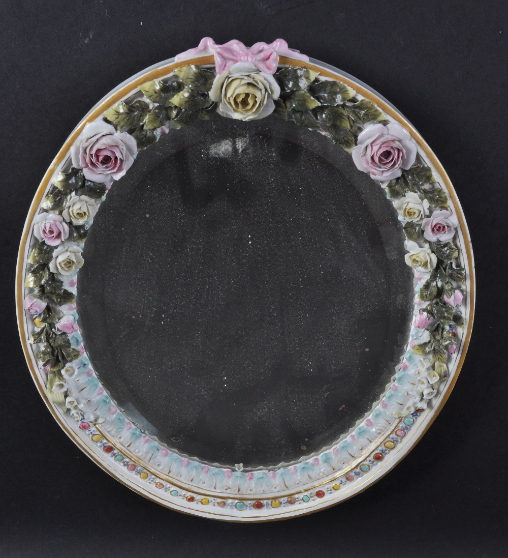 A continental dresden type oval hanging mirror encrusted for Long hanging mirror