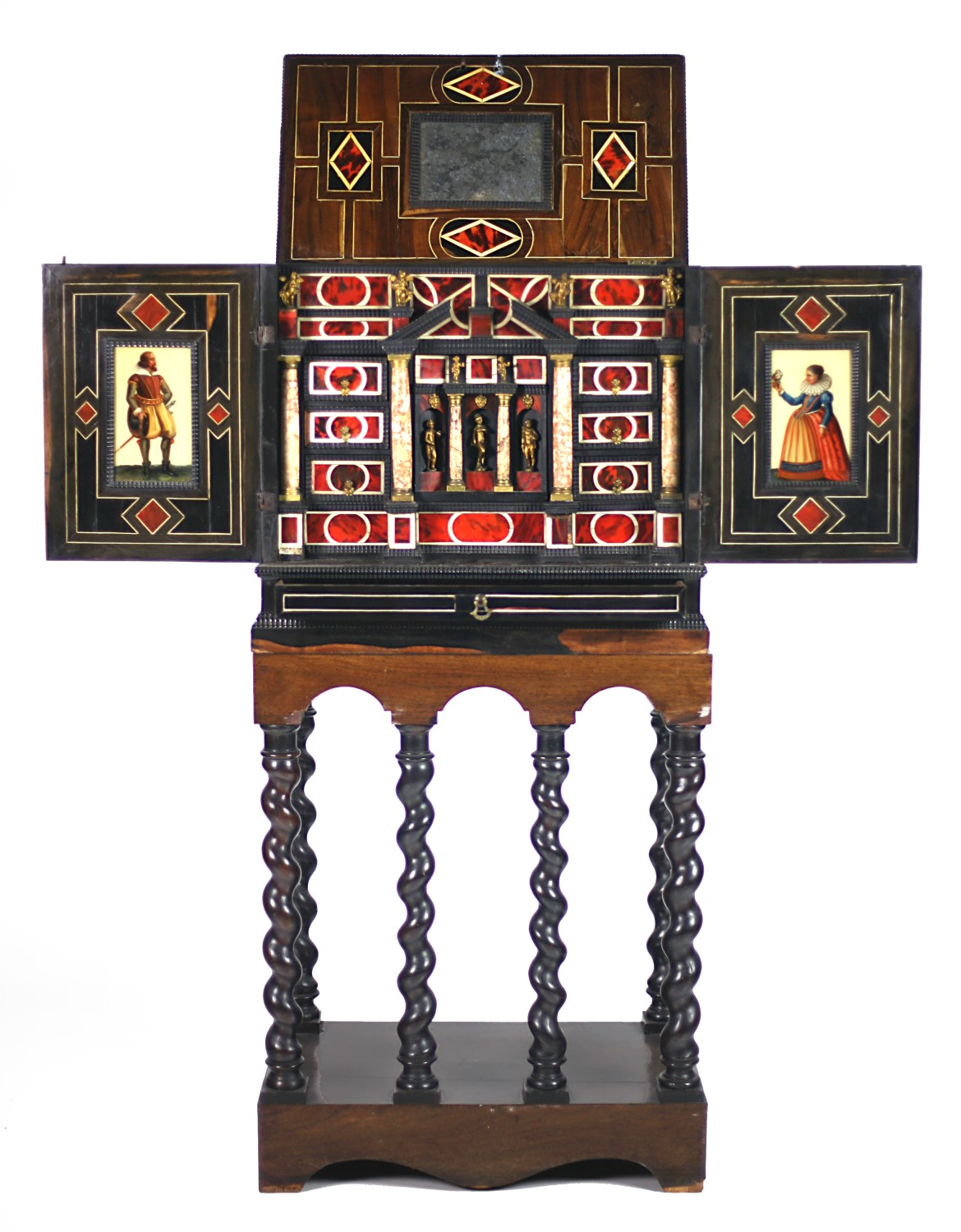 Lot 270 - A rare and attractive antique coromandel wood Cabinet on Stand, the inlaid canopy lift top with