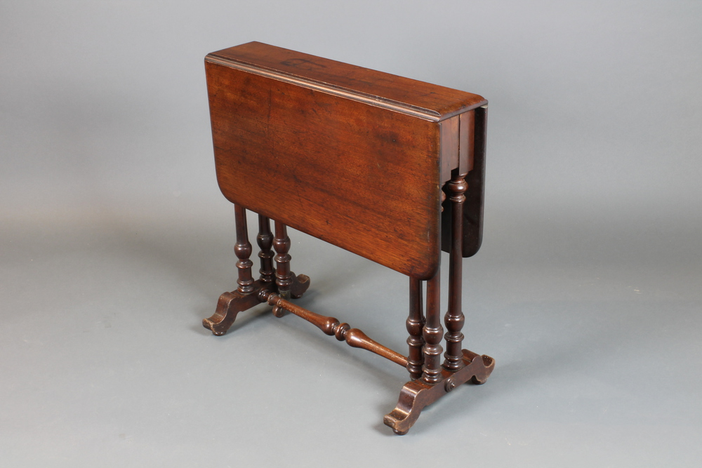 A Victorian Mahogany Sutherland Table Raised On Pillar Supports 26 H X 5 Closed When Open 31 W