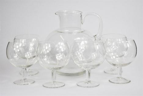 A `Bloody Mary` set comprising six stemmed glass goblets and