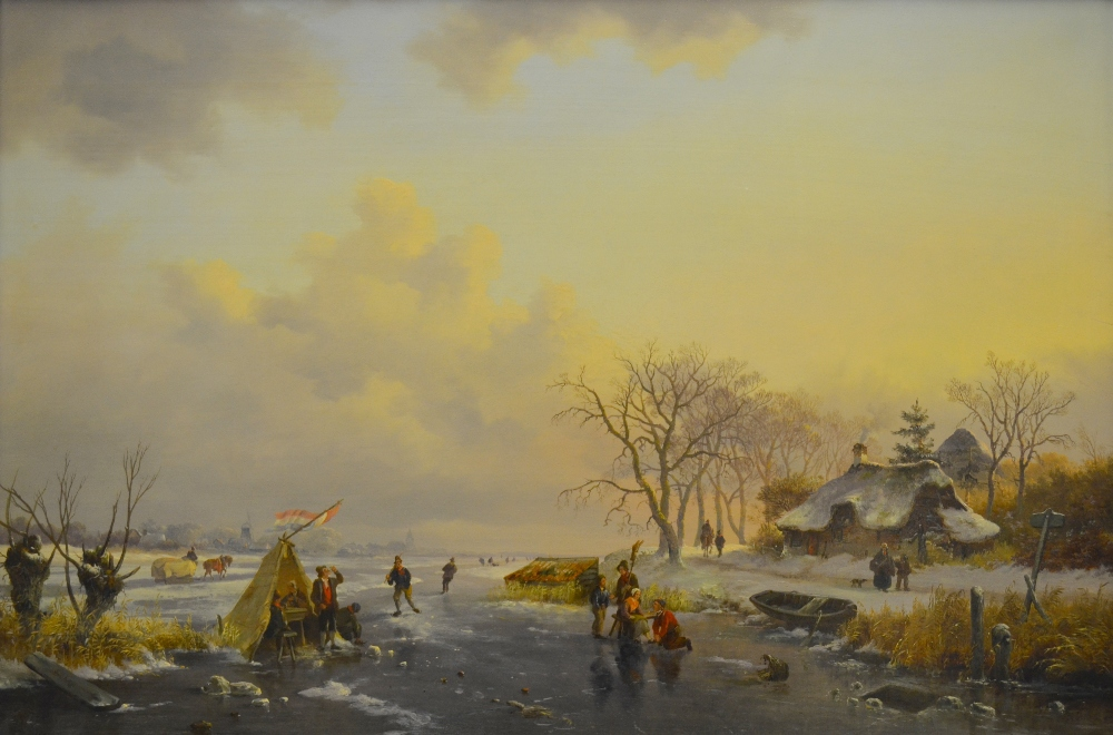 Lot 110 - Frederick Marianus Kruseman (1816-1882) - Winter landscape with figures skating on a frozen river, a