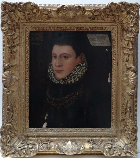 Lot 483 - Stowe House Ducal Collection Tudor portrait circa 1513 Oil on adzed oak panel ` Sir John Bruges (