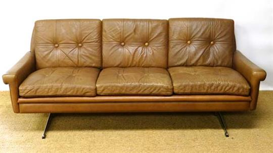 Vintage retro : a fine danish skippers mobler 3 seat brown leather ...