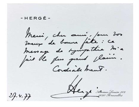 Carte De Visite Autographe DHerge Texte Manuscrit Merci Cher Ami Pour Vos Voeux Bonne Fete Ce Message Sympathie Ma Fait Le Plus