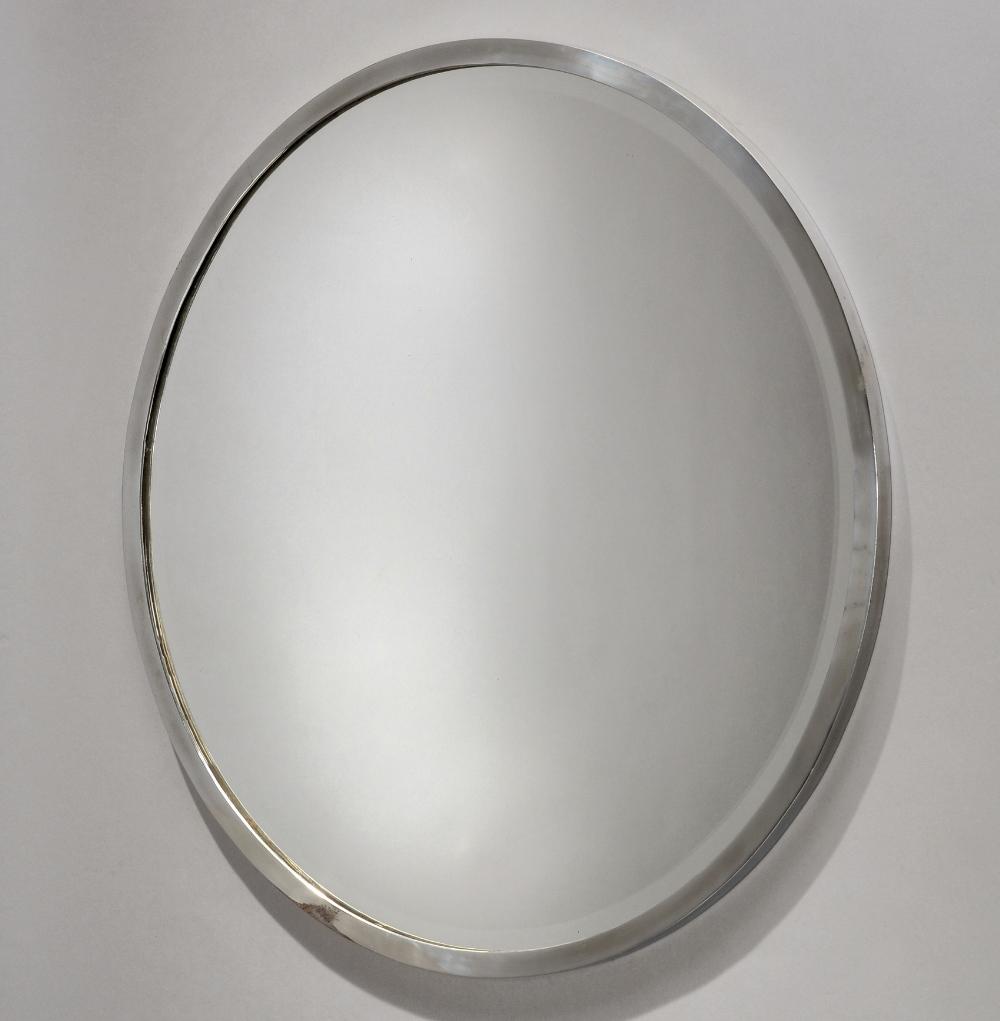 Travail fran ais 1950 miroir encadrement circulaire en for Miroir circulaire