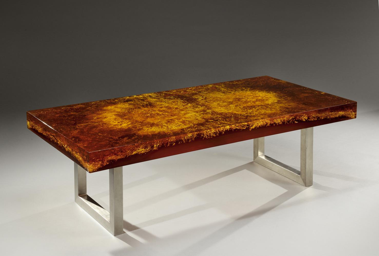 marie claude de fouquieres attribu rare table basse plateau rectangulaire en r sine fractal. Black Bedroom Furniture Sets. Home Design Ideas