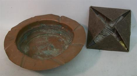 Militaria: A large copper ashtray from R A F Silverstone stamped
