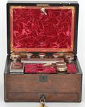 Lot 638 - A 19th Century brass bound rosewood dressing table box, velvet plush lined interior fitted with