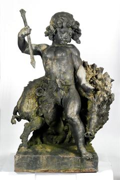 Lot 727 - A lead statue by the Bromsgrove Guild - Dryad and Boar, the sculpture depicting a hunter attacking a