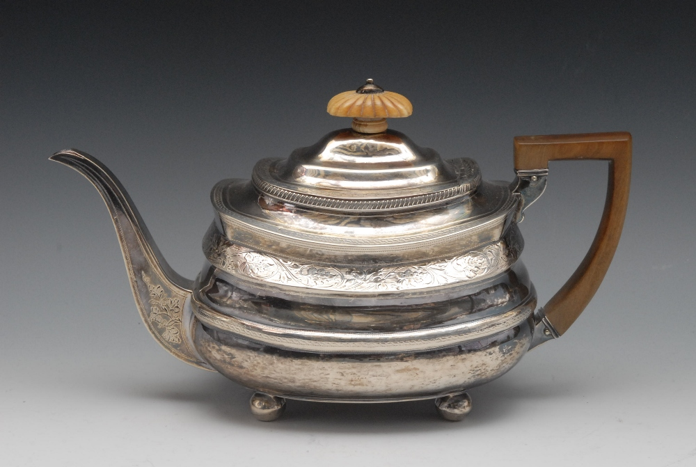 A George Iii Silver Boat Shaped Teapot Ivory Fluted Knop