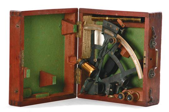 Lot 1142 - John Parkes & Sons sextant late 19th century, brass sextant marked Negus, New York; in dovetailed