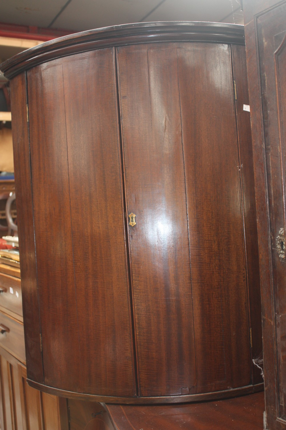 Two georgian dark wood wall hanging corner units one for Corner lots more valuable
