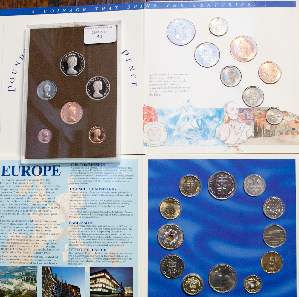 Lot 43 - Faulkland Island proof set 1980, European community coin collection x 2 and pre decimal set specimen