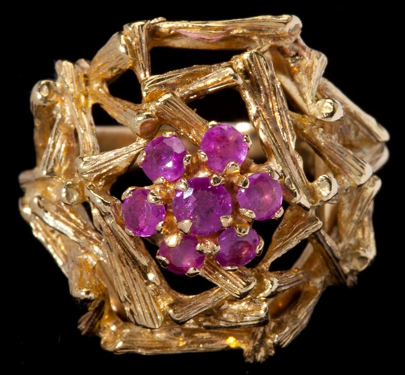 Ruby Cocktail Ring, Italian circa 1960, centering on a cluster of ...