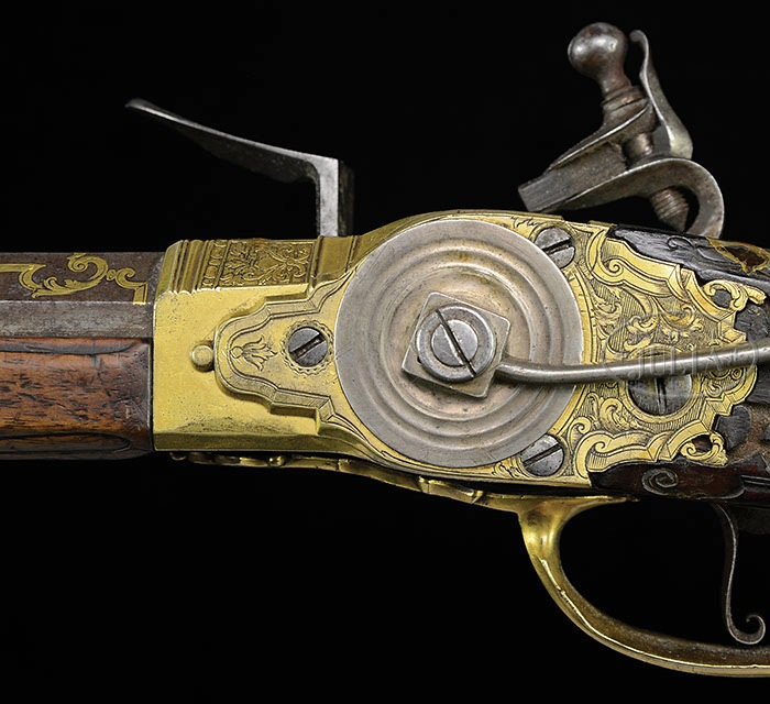 Lot 1522 - MAGNIFICENT LORENZONI SYSTEM FLINTLOCK REPEATING RIFLE BY SEBASTIAN HAUSCHKA PRESENTED TO KING LOUIS
