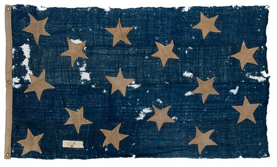 Lot 81 - AN HISTORICALLY INTERESTING FIFTEEN-STAR AMERICAN NAVAL JACK FROM THE ANGLO-AMERICAN WAR OF 1812,