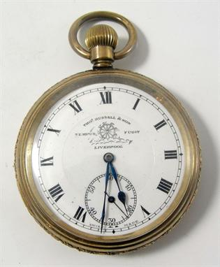 A gold plated Elgin Russell model pocket watch for Thos