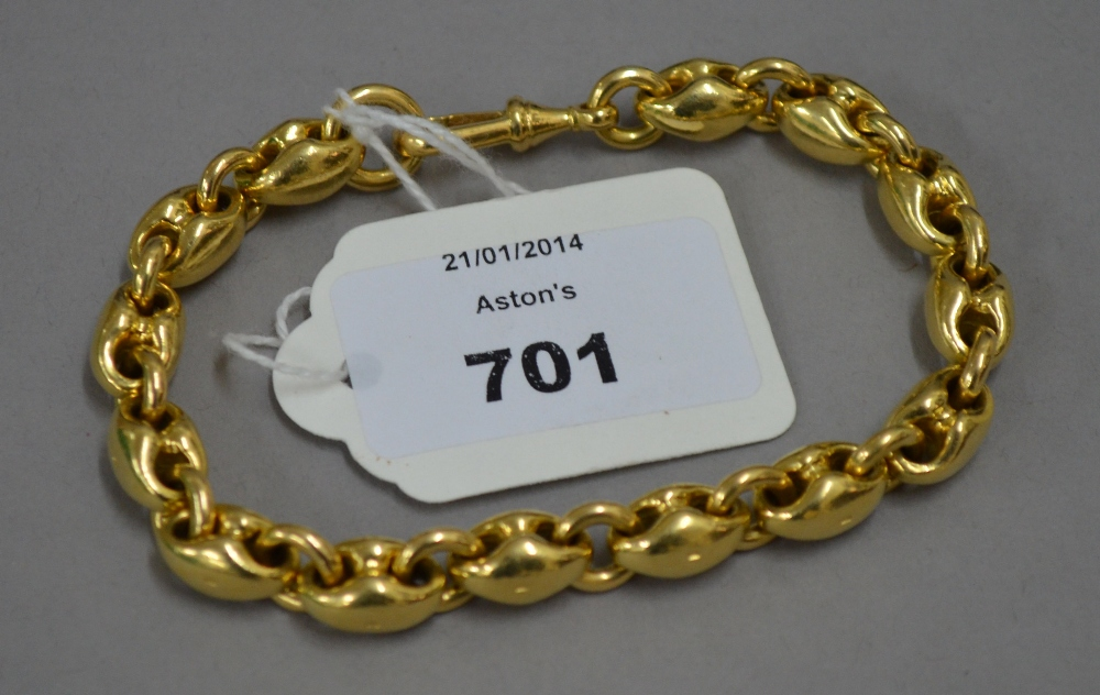 Lot 701 - POLICE > PROCEEDS OF CRIME ACT > Hallmarked 18ct Gold heavy link bracelet. 90g approx.